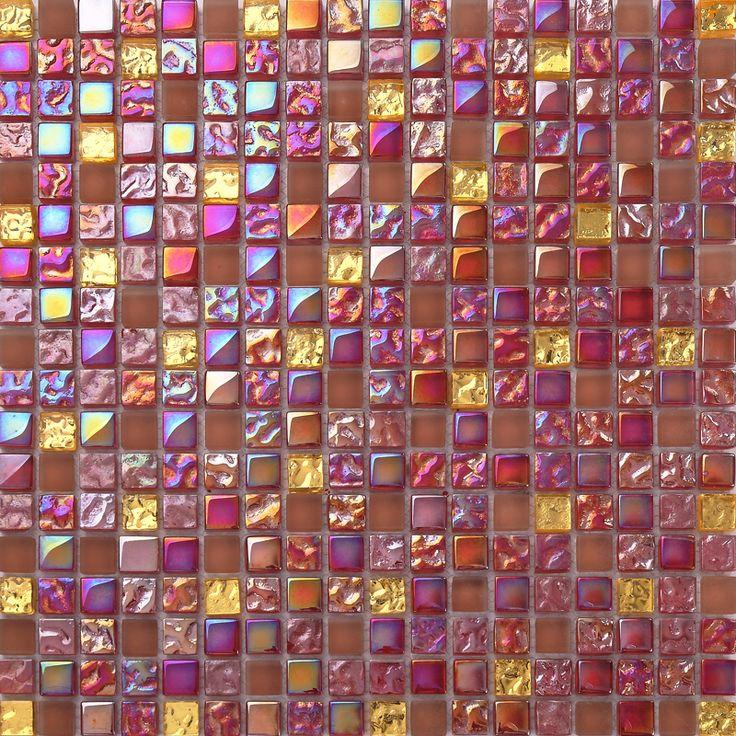 JTC 1319 Glass Mosaic Tile Backsplash Mosaic Tile For Kitchen Wall  Background Decoration Pink Crystal
