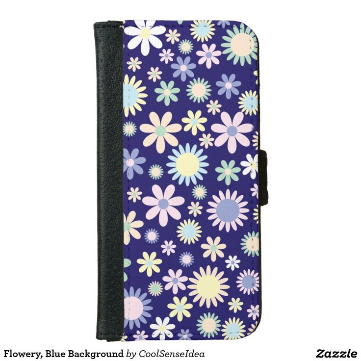 Flowery, Blue Background iPhone 6/6s Wallet Case