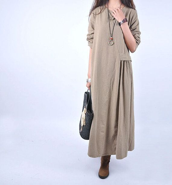 Cotton and linen dress long skirt Flax thick spring by babyangella
