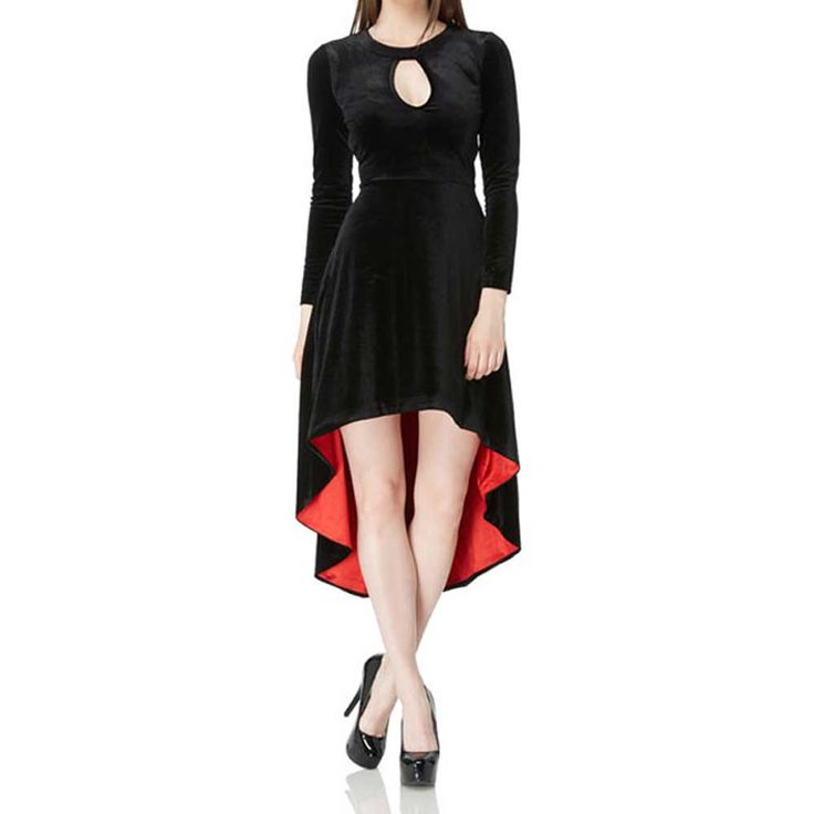 Jawbreaker Lange fluwelen high-low jurk met open rug en rode voering z