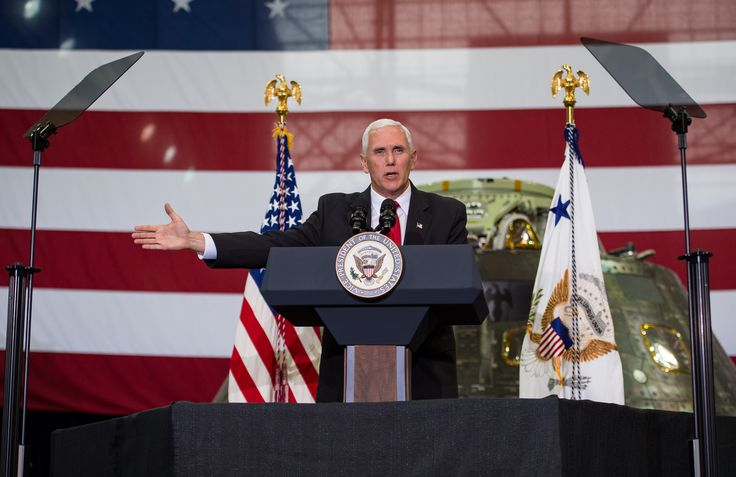 Vice President Mike Pence Visits Kennedy Space Center Vice President Mike Pence addresses NASA employees Thursday July 6 2017 at the Vehicle Assembly Building at NASAs Kennedy Space Center (KSC) in Cape Canaveral Florida. July 06 2017