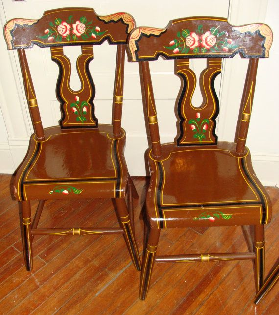 Six Vintage Gypsy Caravan Bohemian Kitchen Dining Chairs Hand Painted German Alps WOOD Eclectic Chairs on Etsy, $300.00