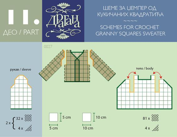 Schemes: how to join crochet triangular motifs/granny squares/hexagons/rounds for a nice garment