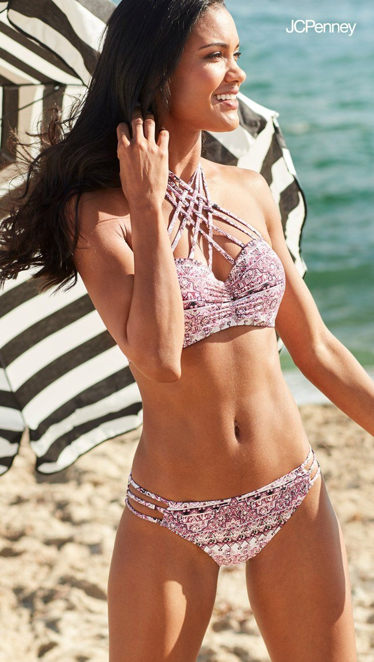 114ce332672ff ... swimsuit. Crisscross straps with flirty patterns are chic must-have  details this summer. Find sunny savings on stylish swimsuits at JCPenney in  sizes ...