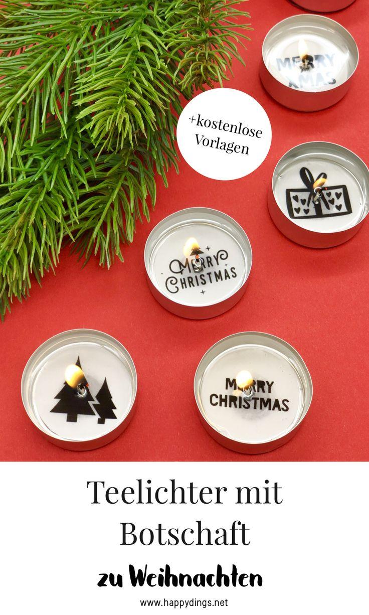 Weihnachtsdeko selber machen – Teelichter mit Botschaft