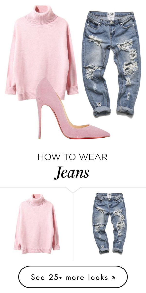 Boyfriend jeans no.7 by laurarachele on Polyvore featuring Christian Louboutin, womens clothing, women, female, woman, misses and juniors