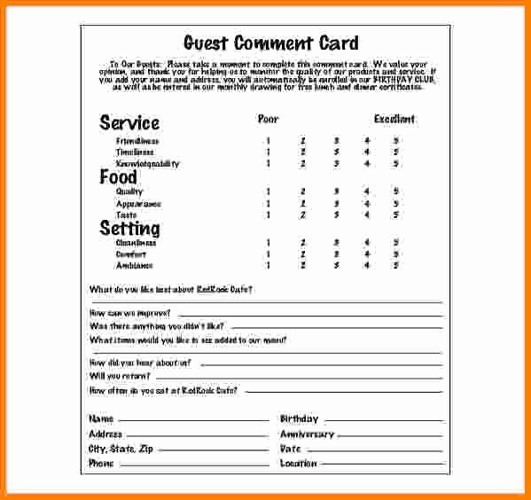 Restaurant Comment Card Template Free Beautiful Restaurant Ment Card Templates Ment Card Temp Free Printable Card Templates Card Templates Cheap Business Cards