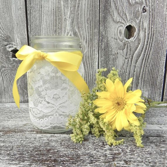Lace Covered Mason Jar in Pint Size, Wedding Vases, Wedding Votive Holder, Table Decor