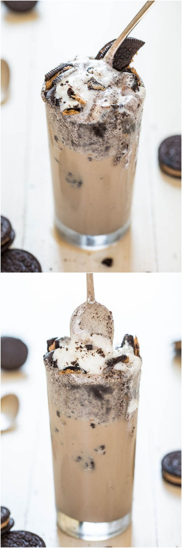 Lightened Up Cookies and Cream Mocha Milkshake - Iced coffee blended with ice cream is so darn good!! And it's lighter, even better!