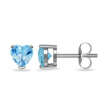 Angara Solitaire Aquamarine Heart Earrings in Yellow Gold
