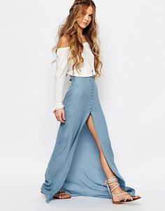 Honey Punch Festival Maxi Skirt With Button Front