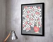 WEDDING GUESTBOOK Alternative - Mitjuju Cherry Love Blossom - 120 guest sign, Unique GuestBook Poster, Art Print.