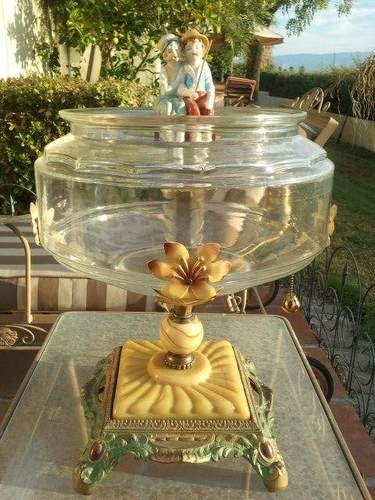 Antique Vintage Art Deco Fish Bowl Fishbowl Fish Tank Aquarium With Stand
