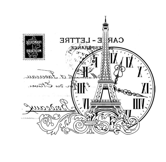 .monotone printable Paris, Eiffel tower, clock