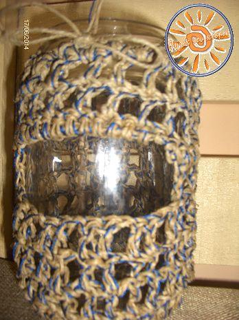 Πηγές του κόσμου knit - crochet cafe - Ολοφύτου 4 Ανω Πατήσια: Νέα σχοινένια γυάλινα βάζα!!