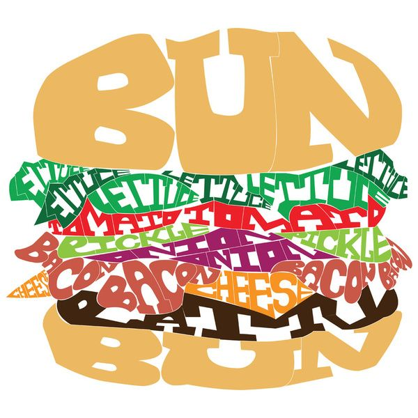 This is hilarious! I love it. Burger in word art! #words #inspiration #English #word_art