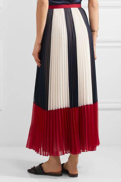 REDValentino | Color-block plissé chiffon maxi skirt | NET-A-PORTER.COM