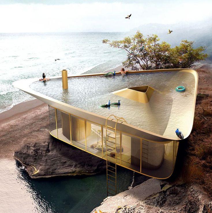 Telhado invertido de casa pode ser usado como piscina