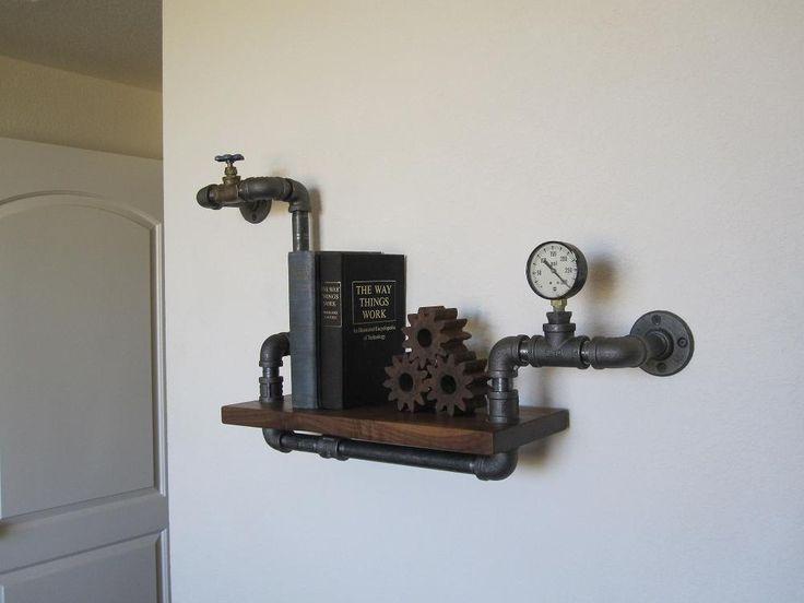 Stout mini single with valve and pressure gauge pipe shelf - Black plumbing pipe furniture ...