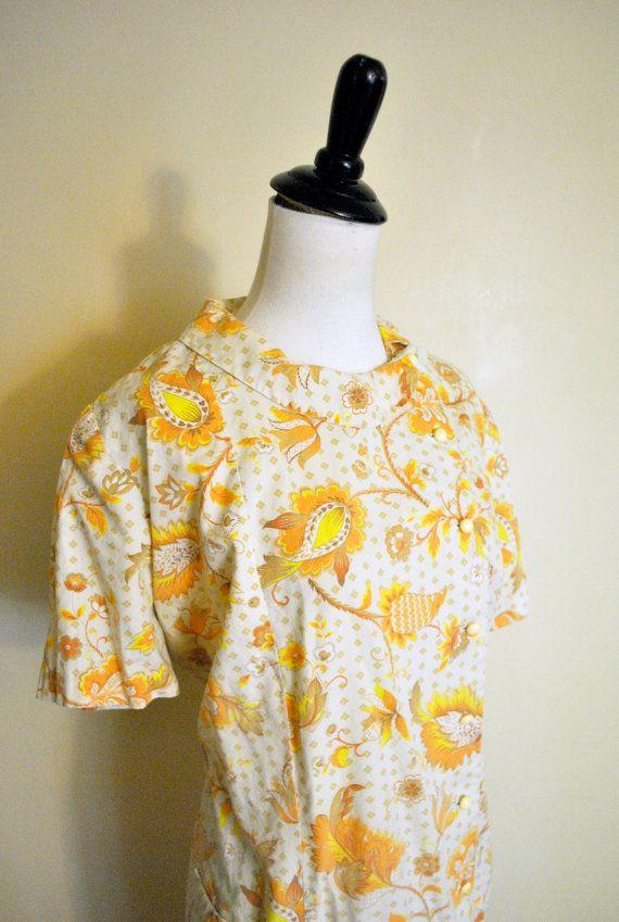1960s Autumn Floral Housedress / Mid Century Cotton by miskabelle Size XL Plus Size $43