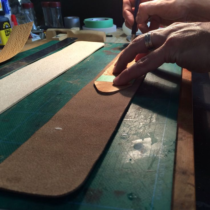 Our resident craftsman @Tony creating our new range of Sinful #leather #spankers! Just ❤️ the way these are turning out!