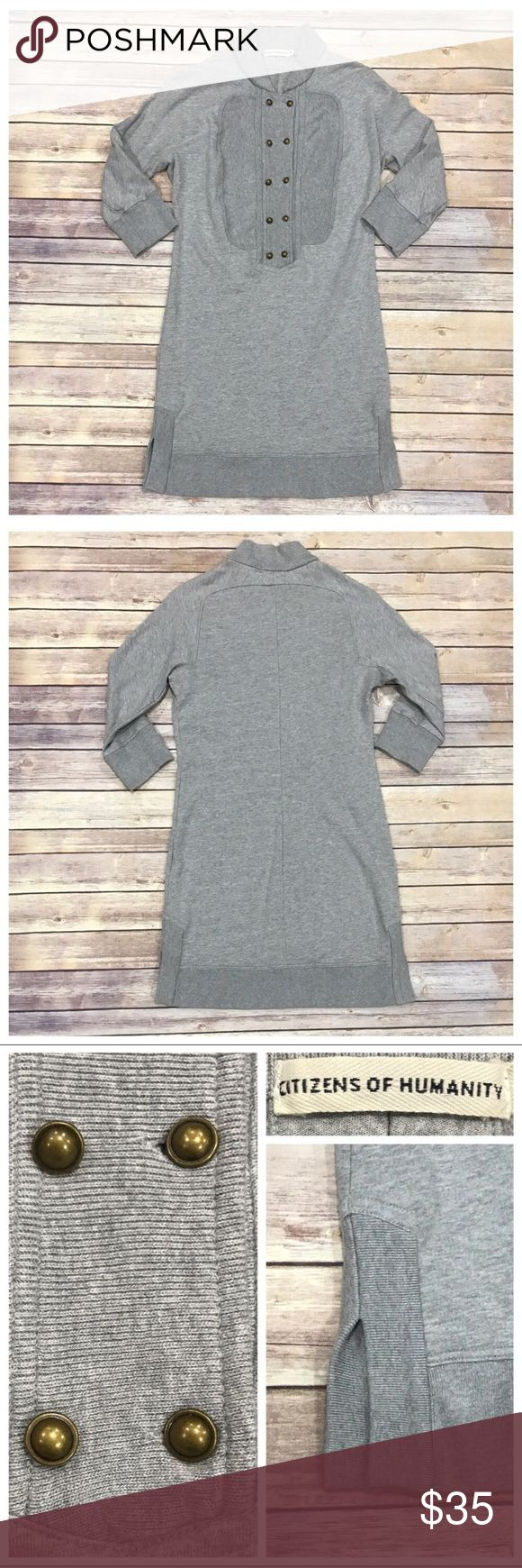 """Dress/Tunic by Citizens of Humanity Vintage grey 100% cotton sweatshirt dress. Pullover styling. 3/4 length sleeves. Snug fit. 34"""" bust. 35"""" length. 4"""" side slit. Runs small. No trades. No off site sales. Price firm unless bundled. Citizens of Humanity Dresses"""