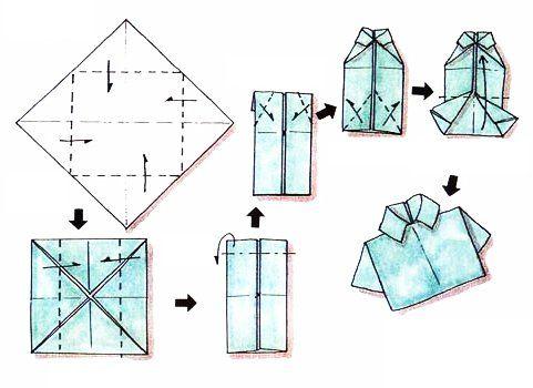 Chemise en origami pour réaliser une carte de fête des pères.