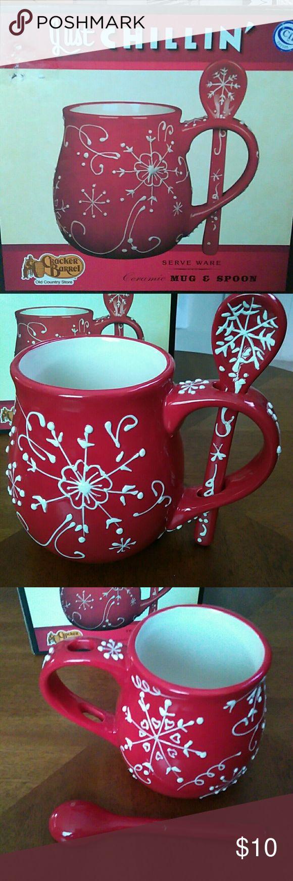 """Cracker Barrel"" Ceramic Mug&Spoon (NWB) 24 fl oz. Mug and a spoon . Ceramic red with white  snowflake design. NWB Cracker Barrel Other"