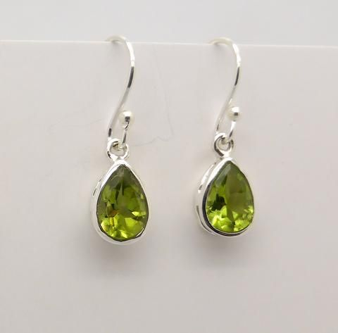 Earring Tear Pear small petite Peridot