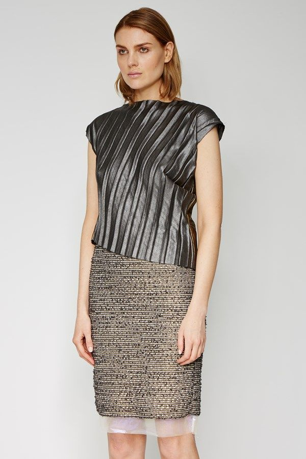 the zambesi DIAGONAL PLEAT BODICE in foil. an easy fit top with pleated detail, diagonal hem, raw hems. can be worn inside out. made in new zealand.