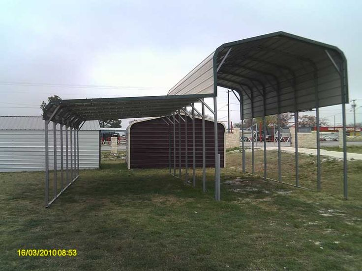 American Steel Carports, carport with attached lean-to, call Mel Jenkins Building Materials, Inc. for pricing information