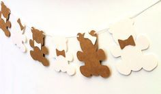 Teddy Bear Garland. Bears & bows. Baby shower by MyPaperPlanet