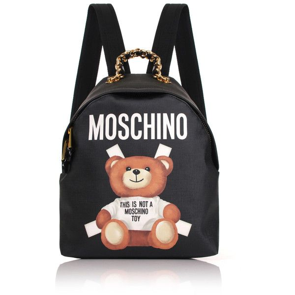 Moschino Bear Mini Backpack ($800) ❤ liked on Polyvore featuring bags, backpacks, mini backpack, day pack backpack, leather zipper pouch, genuine leather backpack and zipper pouch