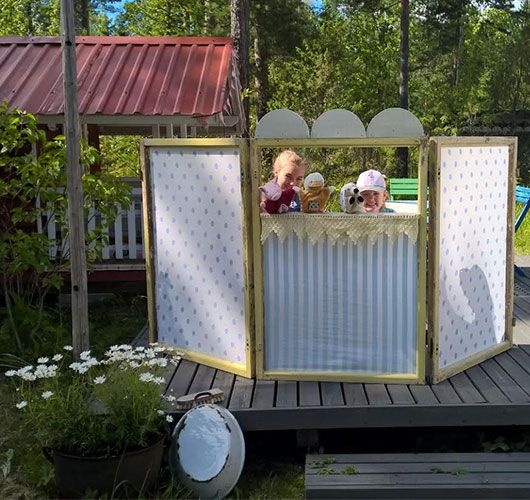 Puppet theatre from old window frames