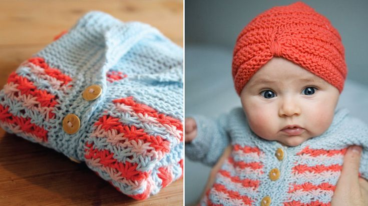 This is a free pattern for a newborn, including a simple garter stitch cardigan with a daisy stitch pattern and a baby turban (how cute!).  Link: http://www.pickles.no/lazy-daisy-baby-jacket/