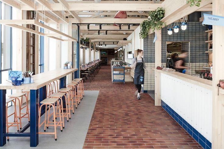 exposed timber frame highlights interior of techné's souvlaki restaurant