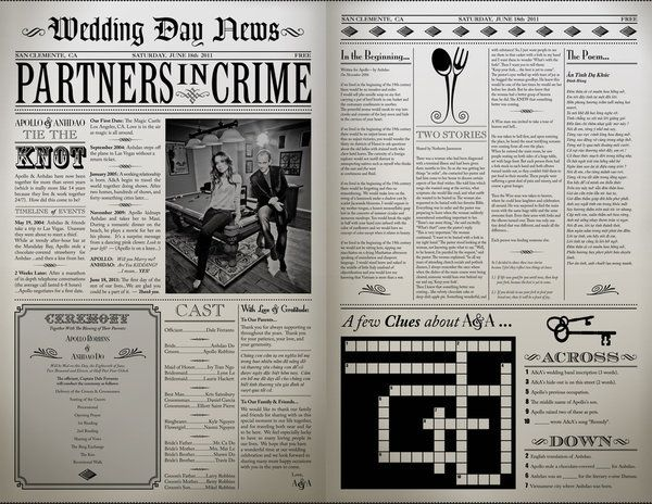Wedding Day News(paper) - Great way to get to know the bride and groom #MyPerfectWedding #BlueNile #stylemepretty