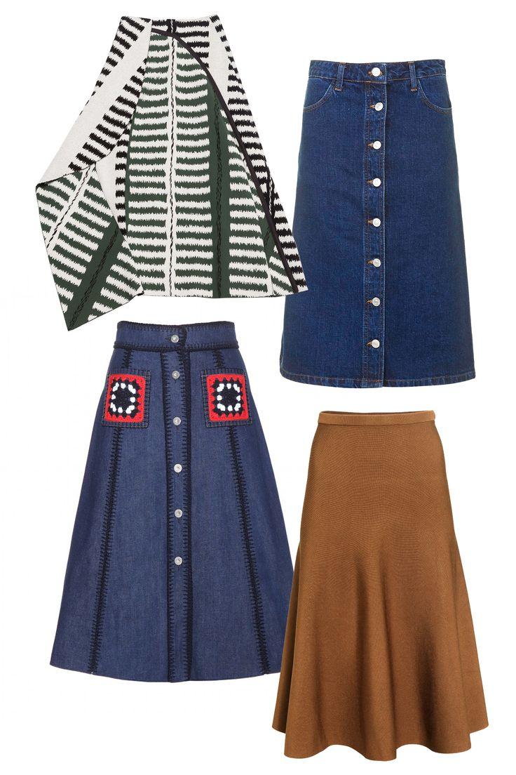 Marni Skirt, $1,810; marni.com Topshop Moto Denim Button Midi Skirt, $58; topshop.com Miu MIu Embellished Denim Skirt, $1,050; mytheresa.com H&M Rib-Knit Skirt, $50; hm.com     - ELLE.com