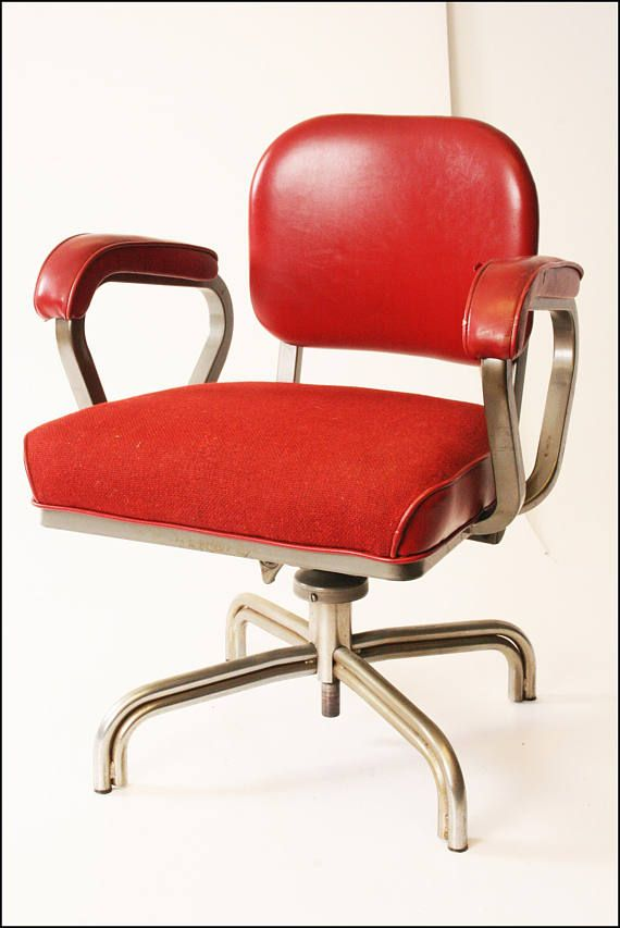 Would love to own this red tanker chair. I have never seen a red one before, in love... Vintage INDUSTRIAL CHAIR Red  desk office swivel tanker mid