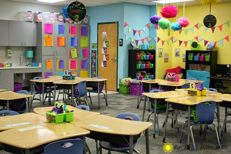 Colorful classroom decorations and organization...great ideas!