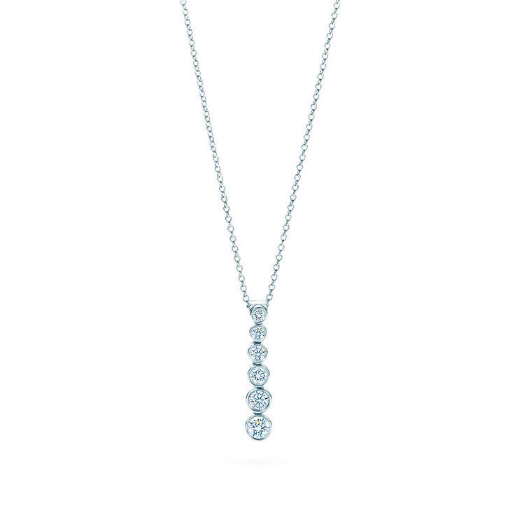 Tiffany Jazz™ graduated drop pendant with diamonds in platinum.   Tiffany & Co.