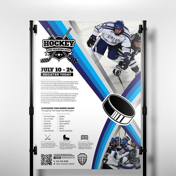 Ice Hockey Poster Template By Brandpacks On Creativemarket Flyer