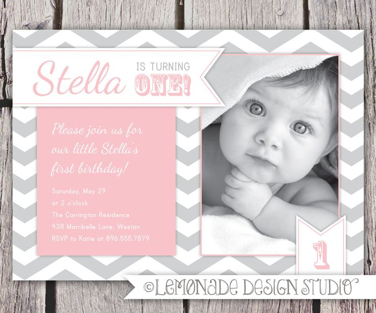 First Birthday Invitation Chevrons