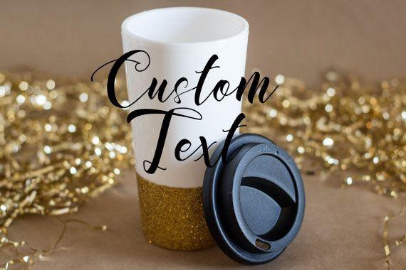 Custom Travel Mug  18 oz Coffee Mug  Glitter by GracefulArrow