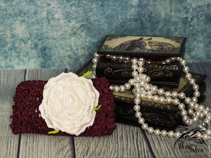 Купить Повязка с розой на голову для девочки лето детская фотосессия - однотонный, бордовый, роза из фоамирана