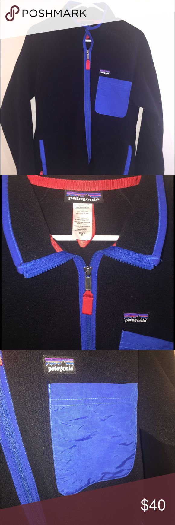 Men's Patagonia Zip Up This is a nearly new zip up from Patagonia! It is all black with blue details! Super soft and comfy for winter! Patagonia Jackets & Coats