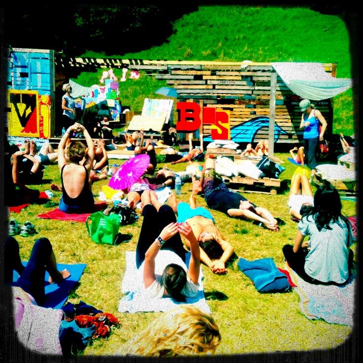 Yoga time @ Splore Festival, Tapapakanga Regional Park, NZ