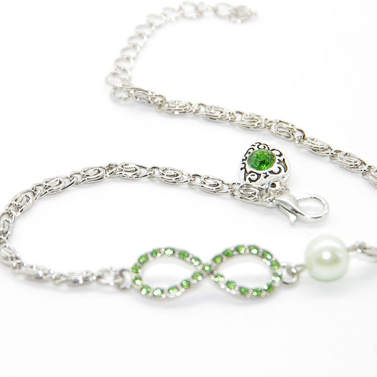 Women Anklets 8 Shape Green Gem Pendant Heart Infinity Double Beach Barefoot Foot Jewelry Anklet Jewelry free delivery #Affiliate