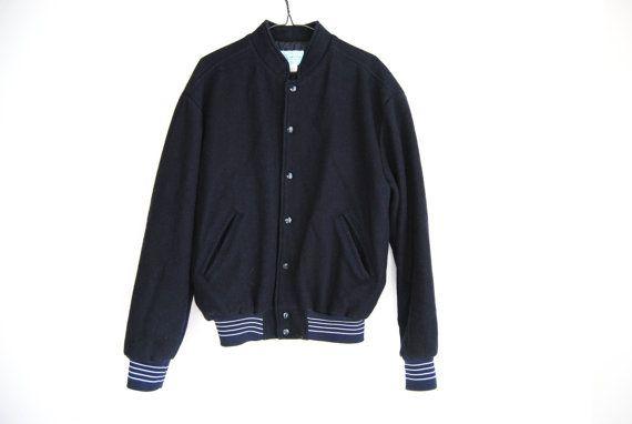 60s Wool Bomber Jacket, Vintage Varsity Jacket, 1960s, College, School Jacket, Wool Jacket Navy Black, Unisex