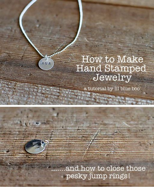 How to Make Hand Stamped Jewelry via lilblueboo.com (and how to seal the jump rings!)